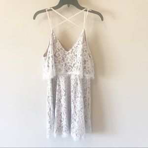 Lush White Lace and Nude Lining Dress Size L